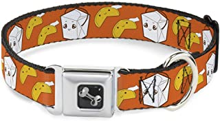Buckle-Down Seatbelt Buckle Dog Collar - Take Out/Fortune Cookies Orange - 1
