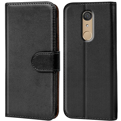 Verco Wiko View Hülle, Handyhülle für Wiko View Tasche PU Leder Flip Case Brieftasche - Schwarz