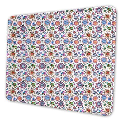 Rechthoekige Mousemat Mousepad, Vogels Eten Zaden met Kleurrijke Zonnebloemen met Gestippelde en Geruite Patronen
