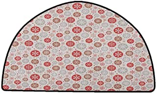 Large Floor Mats for Living Room Colorful Christmas,Ornate Snowflakes Pattern in Circles Dots Winter Themed Old Fashioned Print, Ruby Pale Grey,W31 x L20 Half Round Living Room Rugs