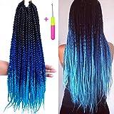 Box Braids Crochet Hair Extensions 120g 20Roots/pcs Kanekalon Three Tone Ombre Braiding Hair Synthetic Crochet Box Braids (18 inch 3 pcs, 1b/blue/light blue)