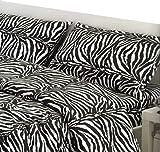 megawebstore Copripiumino in 100% Cotone per Letto Matrimoniale 2 Piazze Zebra Zebrato
