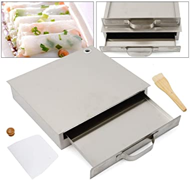 WINUS Cantonese Rice Noodle Rolls Machine, Stainless Steel 1 Layer Rice Noodle Roll Steamer, Rice roll Making Machine for Kitchen Cooking Food Household Chinese Cuisine Recipes Cookware