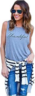 NMY Camiseta de Verano Mujer con Cuello en V la Impresión de Camisetas sin Mangas de la Moda Suelta