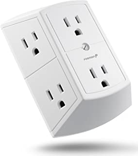 Fosmon 6 Outlet Wall Adapter Tap - ETL Listed, 15A 125V 1875Watts, 3 Sided Grounded Indoor Multi Plug Extender Splitter for Non-Surge Protection Cruise Ship, Travel, Hotel, Dorm, Office, Home