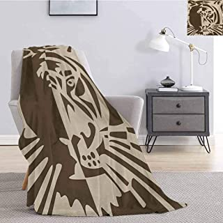 jecycleus Tiger Bedding Microfiber Blanket Abstract Big Jungle Cat Predator Feline Grunge Elements Safari Hunting Action Image Super Soft and Comfortable Luxury Bed Blanket W70 by L70 Inch Tan Brown