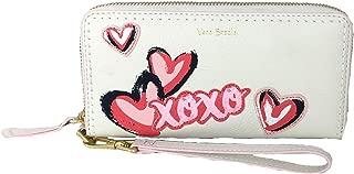 Vera Bradley Mallory XOXO RFID Leather Zip Wristlet Wallet, White Peony