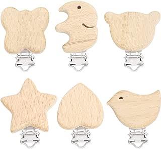 Baoblaze 10pcs Buche Holz Dummy Clip Schnuller Clip Halter Baby Vogel