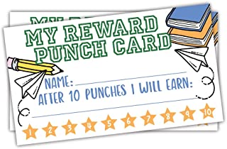 50 School Doodles Reward Punch Cards for Teachers and Students - Kids Classroom and Homeschool Behavior Management Incentive Cards