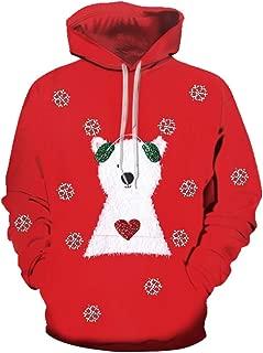 Mens Christmas Hoodie Sweatshirt Long Sleeve Tops Blouse Sweater Jumper Tee
