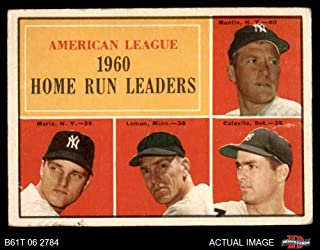 1961 Topps # 44 AL HR Leaders Mickey Mantle/Roger Maris/Rocky Colavito/Jim Lemon Yankees/Twins/Tigers (Baseball Card) Dean's Cards 2 - GOOD Yankees/Twins/Tigers
