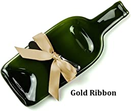 Melted Recycled Wine Bottle Cheese Tray with Cheese Spreader and Gold Ribbon, Serving Tray for Wine Lover