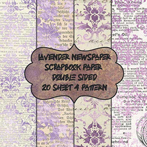 lavender newspaper scrapbook paper double sided 20 sheet 4 pattern: decorative textured purple scrapbooking paper for decoupage - patterned vintage pad 8.5x8.5 - collage craft