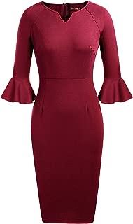 ANGGREK Women's Flounce Bell Sleeve V-Neck Office Work Bodycon Pencil Dress