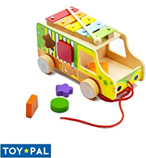 ToyPal Musical Shape Sorter Toy for 1 Year Old - Educational Shapes for Toddlers - Colorful Shape Sorter Toy for 2 Year Old - Wooden Shape Sorting Toy for Infant - Take Along Bus for Boys & Girls