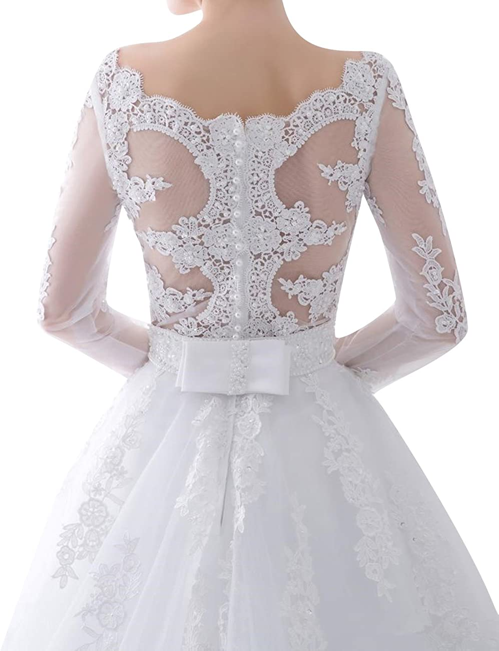 Long Sleeves Wedding Dresses Lace Appliques Bridal Gowns for Bride Vintage Sweep Train