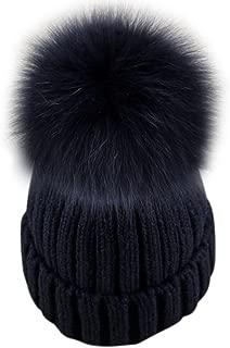 Dikoaina Womens Girls Knitted Fur Hat Real Large Silver Fox Fur Pom Pom Beanie Hats
