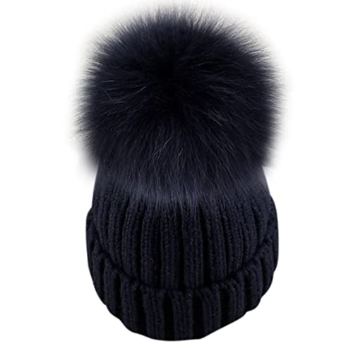 008c92022f3e85 Dikoaina Womens Girls Knitted Fur Hat Real Large Silver Fox Fur Pom Pom  Beanie Hats