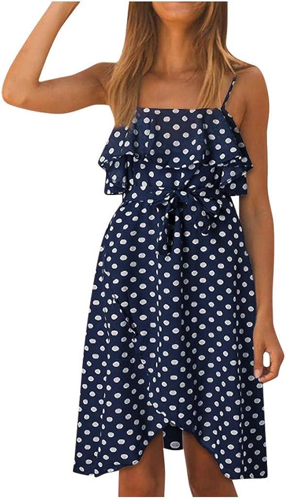 iLUGU store Women's Sleeveless Polka Dot Backless trust Lace Up Ruffle Summe
