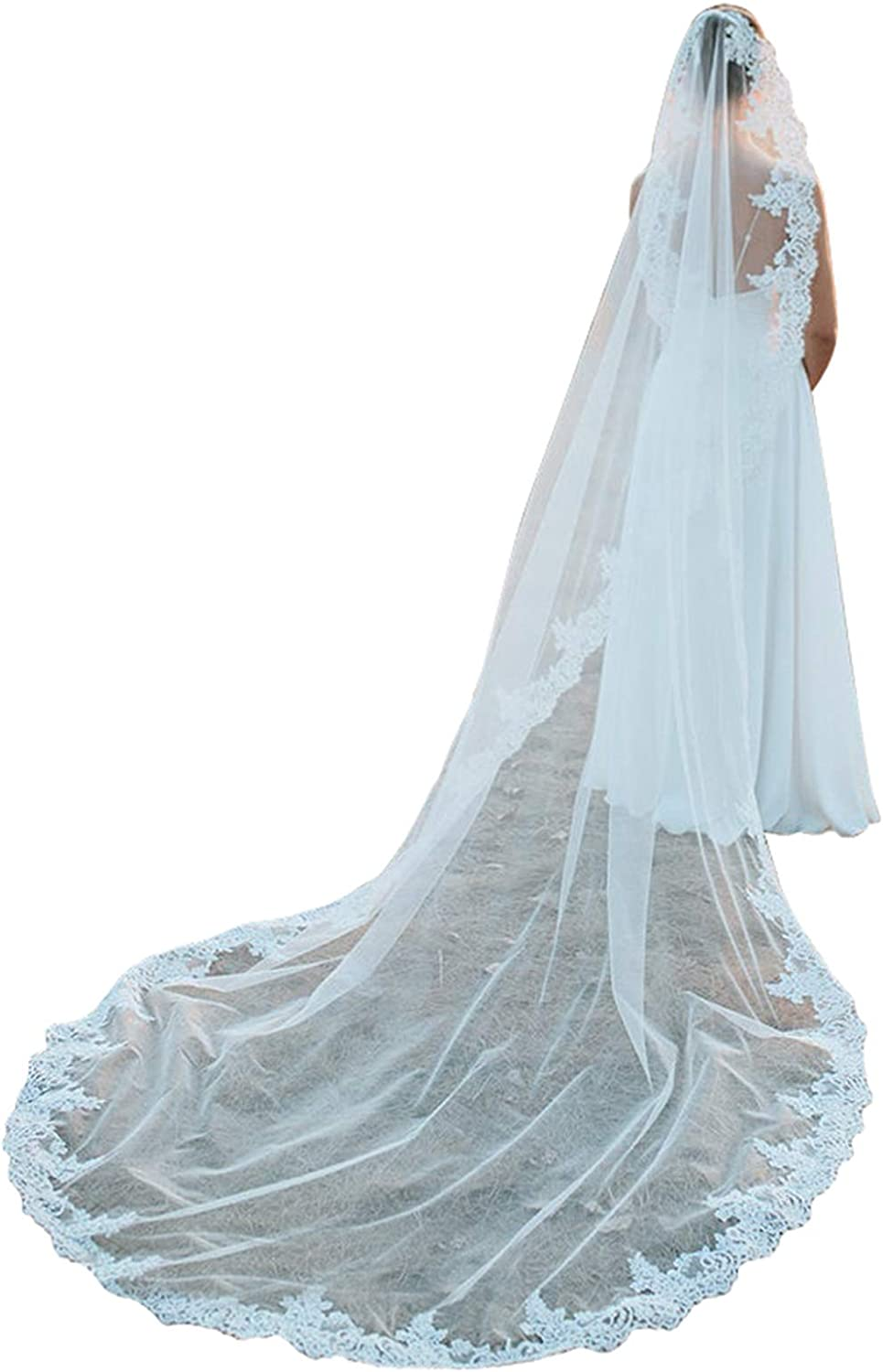 Wedding Veils 1 Tier Ivory Cathedral Elegant Full Lace Edge Bridal Veil with Comb
