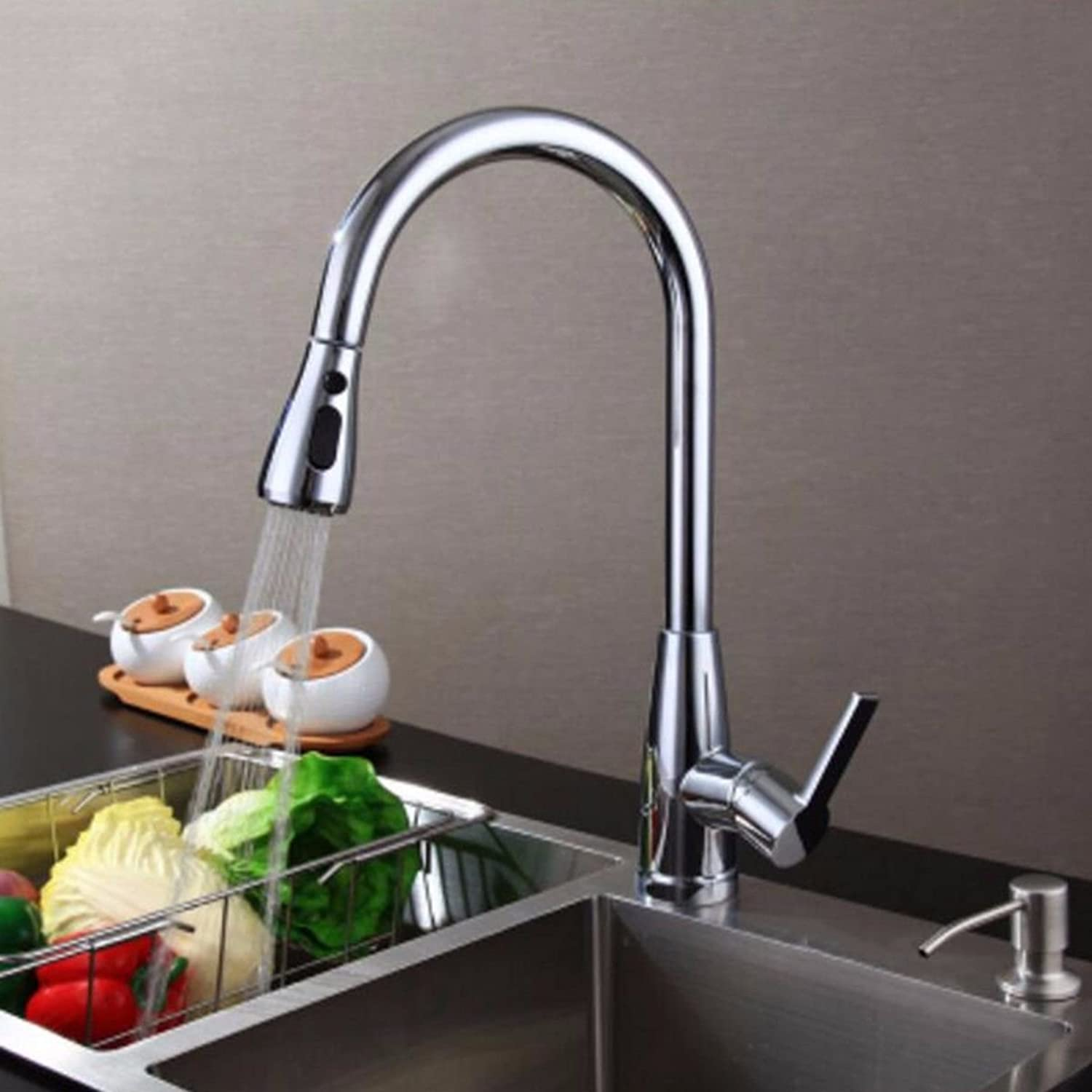 MulFaucet Kitchen Pull Faucet Copper Pull-Out Kitchen Faucet Sink Universal Vegetable Basin Faucet C2