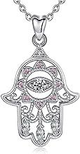EUDORA Colgantes Mujer Plata de Ley 925 Aojo Mano de Hamsa Fátima Buena Suerte Claro CZ Vendimia Collar Colgante Regalos Originales para Mujer Hermanas Cadena de 18