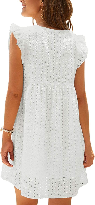 YOINS Sommerkleid Damen V-Ausschnitt Kurzarm Rüschen Tunika Kleid Kurze Mini Freizeitkleid Lässige Kleider A-Line Weiß