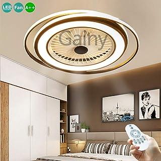 LED Ventilador De Techo Modern Fan 50W Luz Invisible Con Lámpara De Guardería Lámpara Del Dormitorio Luz De Control Remoto Ventilador Silencioso Salón Bajo Ruido Iluminación Negro Puede Sincronización