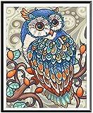 Diamantstickerei 5D DIY Diamantmalerei Full Square Drill OwlEin Geschenk für die Familie (16X20 Zoll / 40X50cm)