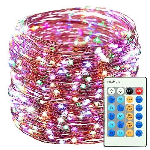 165ft 500 ha portato delle luci dimmable con telecomando, ritmo impermeabile decorativi luci per camera, patio, giardino, cancello, party, matrimonio (fili di rame luci, Multi-Color)