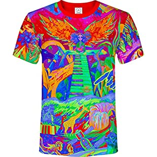 aofmoka Model Girl Asian Colorful Waterfall Robot Piano Arm Jungle Egypt Signs Girafe Pudding Blacklight UV Neon Fluorescent T-Shirt, Size X Large