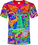aofmoka Green Peace Hippie Style Space Fire Flame Garland Print Tee Shirt Men Women