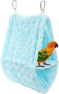(Blue) - Comidox Double Layer Plush Snuggle Bird Hammock Hanging Snuggle Cave Happy Hut Bird Parrot Hideaway Size L (36x14...