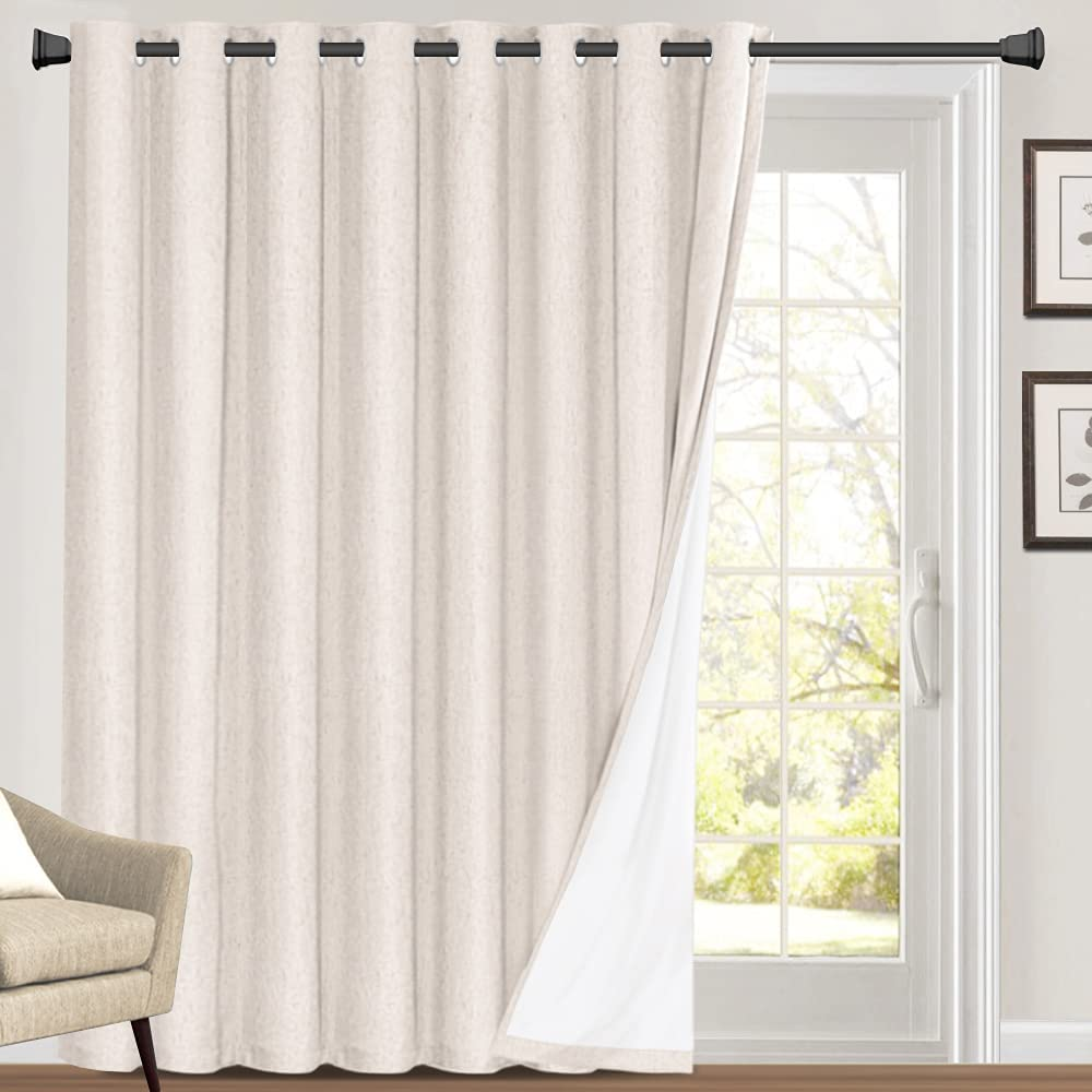 Fort Worth Popular popular Mall 100% Blackout Linen Look Patio Door 84 Curtain Inches Long Extra