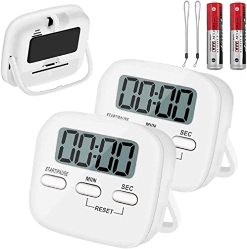 2 Pack Kitchen Timer with AAA Battery Included, YanYoung Digital Countdown Timer with Loud Alarm,Auto-Off, Magnetic B...