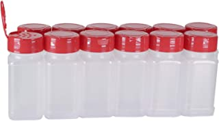 Pinnacle Mercantile (12-Pack) Square 4oz. Spice Jars w/Sifter Red Lids Empty, Reusable Containers for Herbs, Seasonings, Confectionary Toppings | Heavy-Duty Plastic