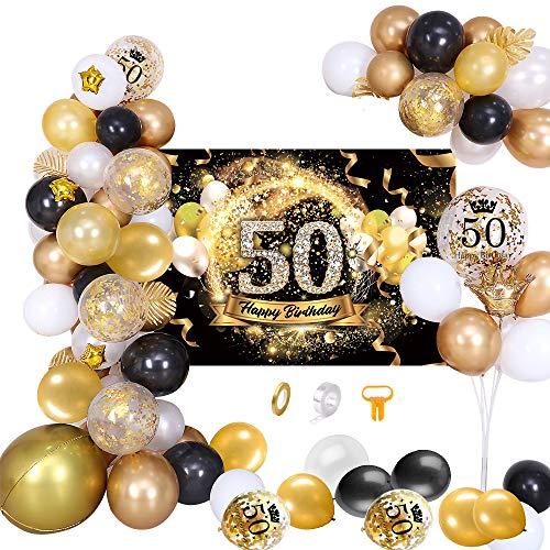 MMTX 50 Decoración de Fiesta de cumpleaños Fondo de póster Dorado Oro Negro Dorado con Guirnalda de Globos, Pancarta de Feliz cumpleaños 50 Globo de látex para Hombres y Mujeres Decoraciones