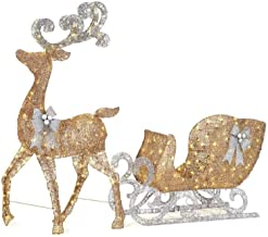 Home Accents Holiday 65 in. LED Lighted Gold Reindeer and 46 in. LED Lighted Gold Sleigh with Silver Bows (White-32)