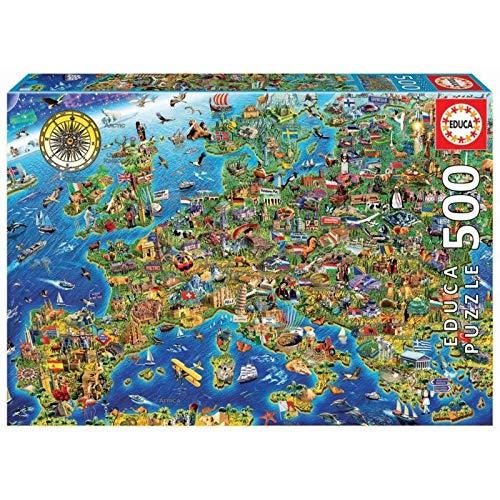 Gekke kaart van Europa1000 puzzels, familiepuzzels, houten puzzels, educatieve spellen, intellectuele uitdagingspuzzels, uitdagingsspellen