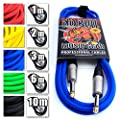 """Premium Guitar/Instrument Cable (Blue, 10ft / 3m, Straight Plugs) - Heavy Duty Pro 1/4"""" Jack to Jack Noiseless Mono Lead - Coloured Link Lead to Amplifier/Amp + Free Cable Tie"""