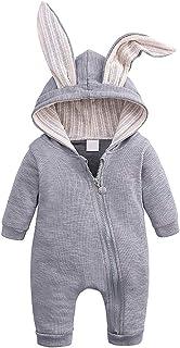 Verve Jelly Kleinkind Baby Mädchen Jungen Onesies Baumwolle Strampler Kaninchenohr Langarm Reißverschluss Strampler Häschen Pyjama für 0-18M Baby