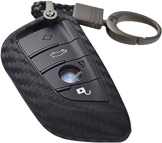 غطاء مفتاح سيليكون ثلاثي الأبعاد كربون مع سلسلة مفاتيح ل BMW 2 5 6 7 Series X1 X2 X3 X5 X6 M