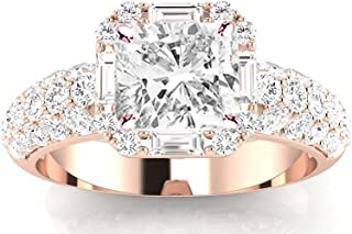 2 Carat t.w. Cushion Modified Designer Popular Halo Style Baguette and Pave Set Round Diamond Engagement Ring I-J/SI1 Clarity Center Stones.