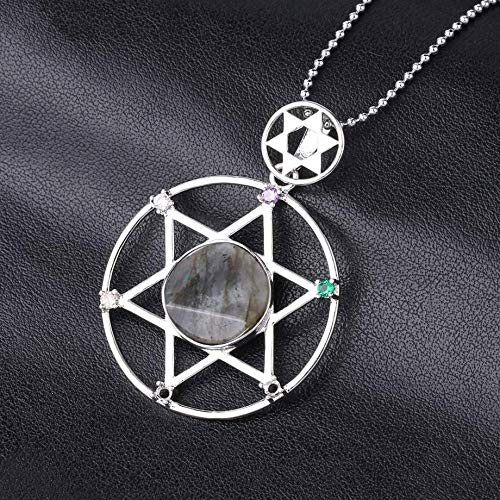 YOUHU Crystal Pendant Necklace,7 Chakra Crystal Necklaces Silver Star Of David Natural Amethyst Gem Hexagram Pendant Charm Spiritual Jewelry Unisex Birthday Gift,Labradorite