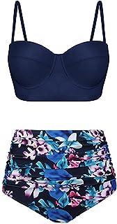 kolila High Waisted Vintage Bikini Set for Women Swimsuits Push Up Halter Ruched Swimwear Two Piece Bathing Suits