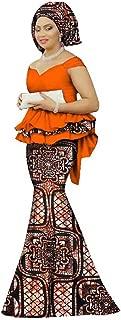 Womens African Mermaid Skirt Set Peplum Tops & Headwrap & Long Skirt