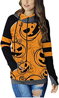 Womens Spliced Color Hoodie Double Hooded Zipper Detail Sweatshirt with Pockets