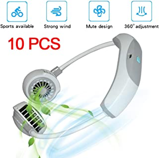 10PCS USB Portátil Ventilador de Cuello Colgante 2000mAh Recargable Mini Manos Libres Neck Fan, 3 Engranajes Aire Acondicionado, con LED de Colores, para el Hogar Oficina Deportes