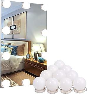 10PCS Lámpara de Espejo con Luz Estilo Hollywood Luz de Espejo,Espejo de Tocador con Juego de Luces de Maquillaje para Espejo Cosmético/Tocador/Mesa de Maquillaje con Función de Regulación