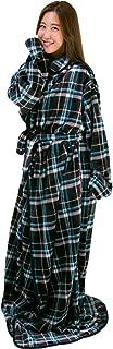 アイリスプラザ 毛布 着る毛布 180cm丈 ルームウェア フランネルマイクロファイバー とろけるような肌触り 静電気防止 洗える ブラック×ブルー